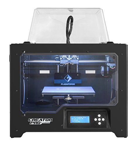 FlashForge 3D Printer Creator Pro, Metal Frame Structure, Acrylic Covers, Optimized Build Platform, Dual Extruder W/2 Spools, Works with ABS and PLA from FlashForge