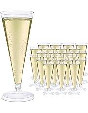 Relaxdays Champagneglas plast, uppsättning av 24, återanvändbara champagneglas 0,1 l, okrossbart, återanvändbart glas, H x D: 18 x 7 cm, transparent