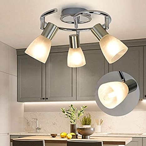 Amazon Com Dllt Modern Led Track Lighting Fixtures 3 Light Round Ceiling Track Light Directional Ceiling Spot Lights For Kitchen Office Bedroom Picture Wall Hallway E12 Base Home Improvement