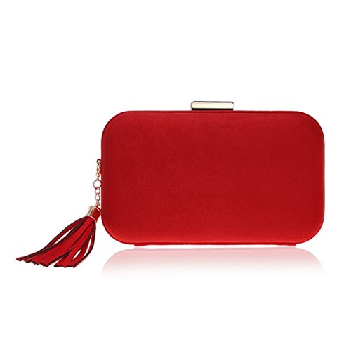 And And Dinner Tassel Bag Evening evening Banquet American BLUE Evening bag Dress Fashion Bag Color Leather Clutch FLY Red European New qwIE11