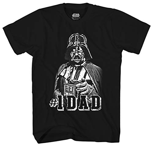 Star Wars Darth Vader #1 Dad Men's Adult Graphic Tee T-Shirt (Black, Medium) (Darth Vader Best Dad Shirt)