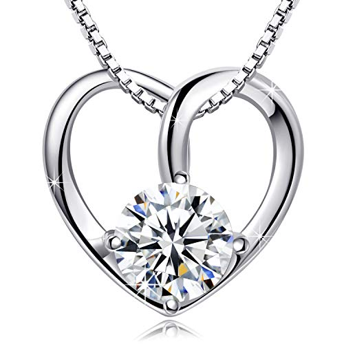 Annie & Kevin 925 Sterling Silver Cubic Zirconia Heart Necklaces Forever Lover Simulated Diamond Pendant Gifts for Women Wife Girlfriend Wedding Birthday Mother Gifts ... - Heart Simulated Diamond Sterling Pendant