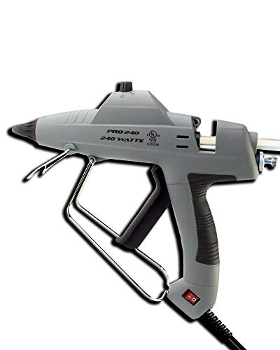 Full Size Industrial Glue Gun Hot Melt Temperature Flow Control 240W Melting +10 Black Glue Sticks for Upholstery Carpentry Home Repair Craft Projects Heavy Duty UL-Certified Super-Deals-Shop by S-D-S Sleeves (Image #1)