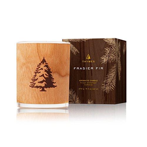 Thymes - Frasier Fir Seasonal Wood Wick Candle, 65- Hour Burn Time - 9.5 Ounces