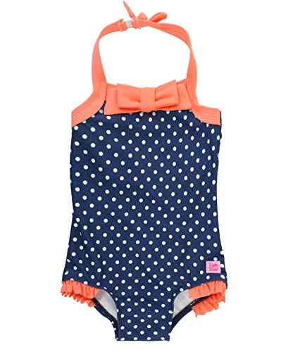 RuffleButts Little Girls Vintage Style Halter One Piece Swimsuit with UPF 50+ Sun Protection