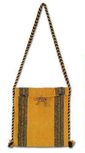 NOVICA Yellow Wool Shoulder Bag, 'Mexican Summer'