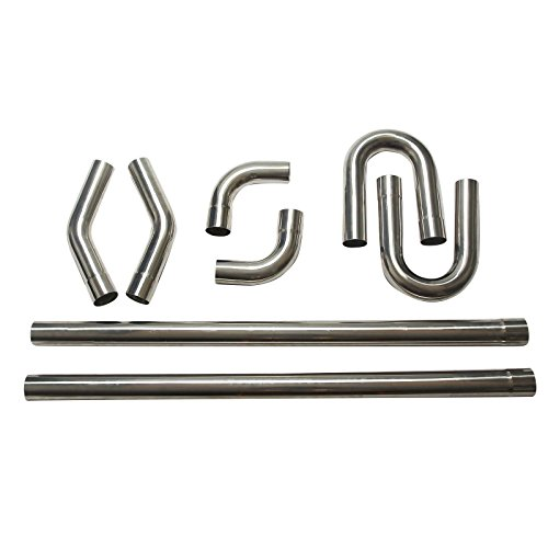 - BLACKHORSE-RACING Custom Mandrel Exhaust Pipe Straight Bend Kit 304 Stainless Steel 8PCS 2.5