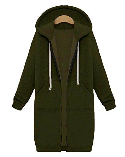 Mujer Primavera Y Otoño Trench Coat Suelto Casual Cardigan Abrigo Con Capucha Verde Del Ejército