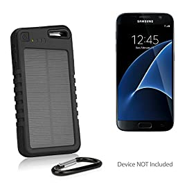 Samsung Galaxy S8 Plus Battery, BoxWave [Solar Rejuva PowerPack (6000mAh)] Solar Powered Backup Power Bank for Samsung… 17 PORTABLE POWER: Charge your device on the go! Packed with 6000mAh of power, the Solar Rejuva PowerPack can charge your Galaxy S8 Plus up to 2-3 times! SOLAR ENERGY: Harness the power of the sun to recharge the Rejuva PowerPack's internal battery. Alternatively you can also charge it using the included USB cable from any USB power source. BRING IT EVERYWHERE: Includes a handy carabiner to clip on your keychain, bag, or tent!