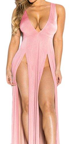 Six Solid Long Womens Split Neck V Hem Domple Dress Elastic Waist Deep Sleeve Sexy Casual Long gZwxA0