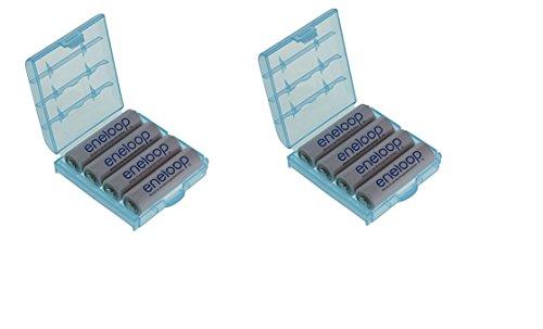 Panasonic Eneloop Mignon, BK-3MCCE Lot de 8 piles Type AA 2000mAh (min. 1900mAh) avec 2x boîtes de piles de qualité de la Société Heiba Electronics