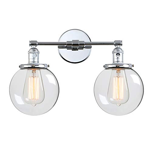 Phansthy 2 Lights Wall Sconce Industrial Wall Light Fixture with Dual 5.9 Inches Handmade Globe Glass Lampshade(Chrome)
