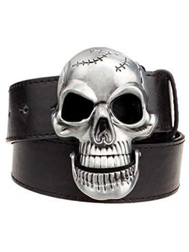 Moolecole Fashion Men Skull Head Leather Buckle Belt Waist Band Jeans Decorative Punk Belt Black ()