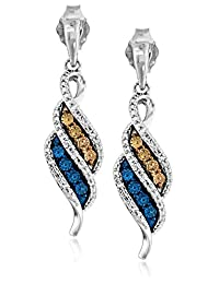 Sterling Silver and Champagne, Blue, and White Diamond Flame Dangle Earrings