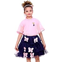 ELENDRA Girls Kids Casual WEAR Slim FIT Stretchable Skirt with TOP