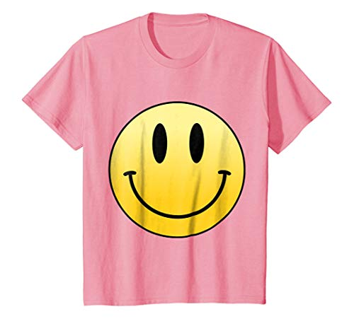 Kids Mr Happy Smiley Face Positive Cute T Shirt 12 Pink ()