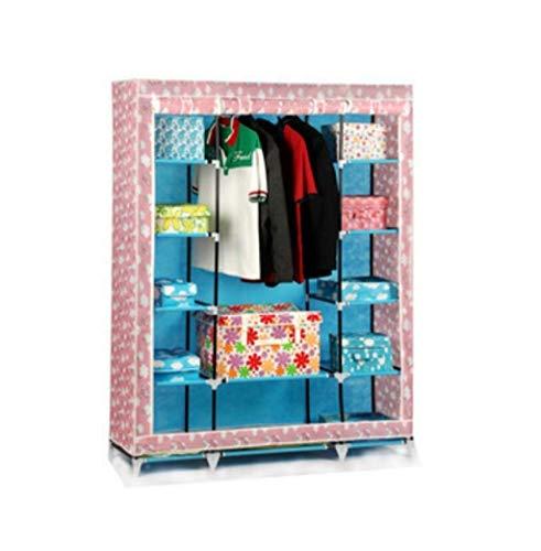 (ALWUD Big Portable Wardrobe Clothes Storage Organizer, Non-Woven Closet Shelves Folding Wardrobe with Hanging Rod,C_133x172cm)