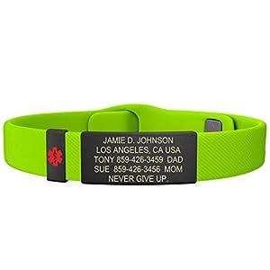 Road ID Medical Alert Bracelet - The Wrist ID Elite 13mm Pin-Tuck Medical Alert Badge - Graphite - Personalized Medical ID Bracelet Child ID - Fits Adults & Kids