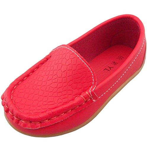DADAWEN Boy's Girl's Slip-on Loafers Oxford Shoes Red US Siz