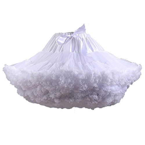 (Fluffy Women's Tutu Skirt Adult Tulle Short Petticoat with Ruffles 8 Colors)