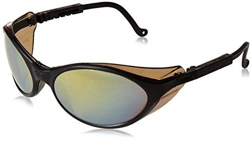 Uvex S1604 Bandit Safety Eyewear, Black Frame, Gold Mirror Ultra-Dura Hardcoat - Glasses Vision Frames Success