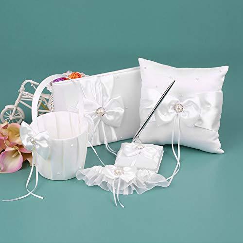 BERTERI 5pcs/ Set Satin Flower Girl Basket Ring Pillow Ribbon Bowknot Guest Bride Garter Wedding Party Decoration Supplies Set Big Faux Pearls Design from BERTERI