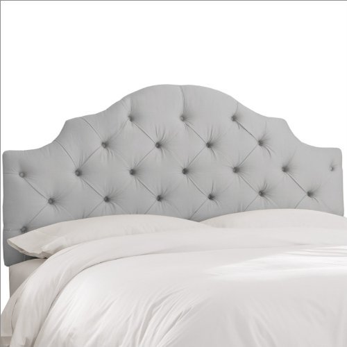 Skyline Furniture Tufted Headboard in Upholstered Shantung Queen Silver
