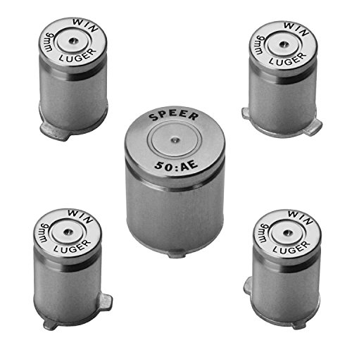 MassMall Pro Chrome Aluminum Bullet Xbox 360 Controller Buttons Parts Mod Set Kit/Guide buttons (Metal Silver) (Controller Bullets Xbox Buttons)
