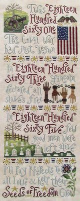 Seeds of Freedom Cross Stitch Chart and Free Patriotic Embellishment