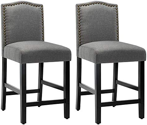 LSSPAID 24 inch Fabric Backed Bar Stools Set of 2 ,Gray