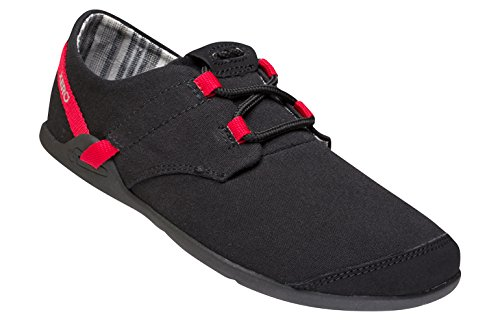 Xero Shoes Lena - Scarpa Casual In Tela A Piedi Nudi - Leggera, A Goccia Zero - Donna Nera / Rosso Tango