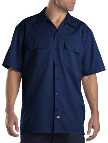 Dickies Men's Big and Tall Short Sleeve Work Shirt, Dark Navy, Large