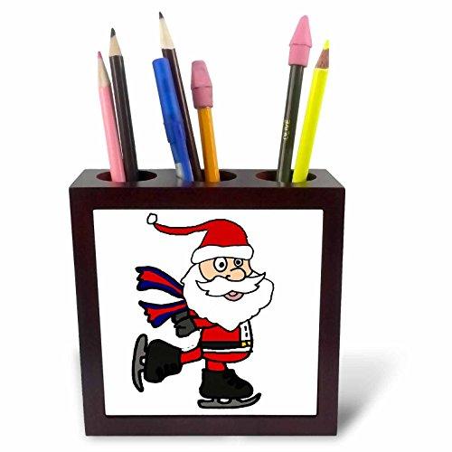 3dRose All Smiles Art Christmas - Cute funny Santa Claus Ice Skating Christmas cartoon - 5 inch tile pen holder (Ice Skating Santa)