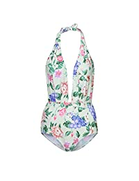 Sunmoot Women Vintahe One Piece Swimsuit Floral Print Deep-V Halter Backless Sexy Bikini Set Swimwear
