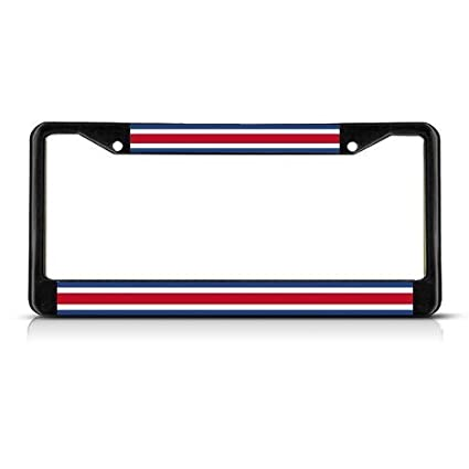 License Plate Frames Costa Rica Flag No Seal Black Metal Metal License Plate Frame