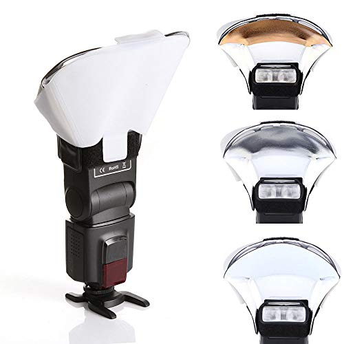 - FocusFoto Universal Flash Speedlite Bounce Diffuser Softbox with 3 Colors (Silver White Gold) Reflector Card for Canon Nikon Yongnuo Speedlight