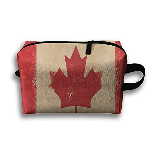 Canada Flag Retro Travel Portable Make-up Receive Bag Hand Cosmetic Bag With Hanging
