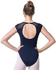 Dance Ballet Leotards Backless Gymnastics Costumes Mesh Cap Sleeve for Women Big Girls