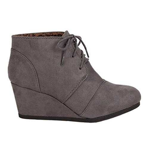 City Classified REX-S Women's Lace Up Wedge High Heel Bootie Boots Charcoal