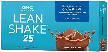 GNC Total Lean Lean Shake 25 to Go Bottles – Swiss Chocolate, 12 Pack, Low-Carb Protein Shake to Improve Weight Loss