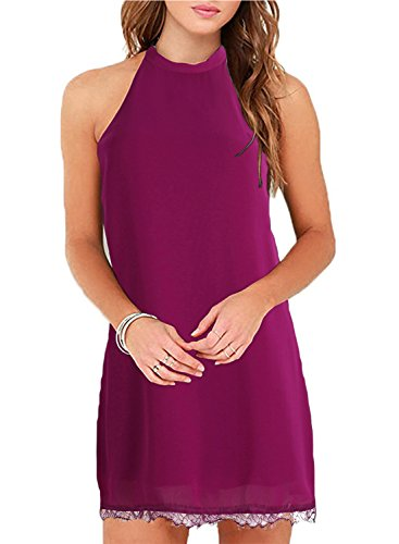 Fantaist Women's Summer Halter Backless Lace Cocktail Dresses for Wedding Guest (M, - Dress Guest Wedding Purple