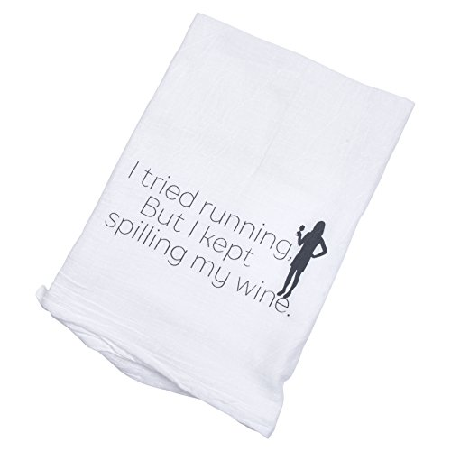 Nesting Naturals Wine Tea Towel, I Tried Running but I Kept Spilling My Wine, 28 Inch 100% Cotton, Flour Sack Towel with Funny Saying Professional Grade Absorbent and Fast Drying