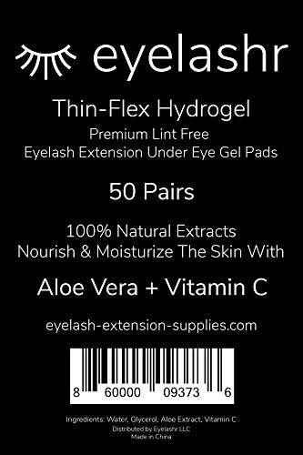 (50 Pairs) New Thin-Flex Under Eye Gel Pads for Eyelash Extensions - Premium Lint Free Patches with Vitamin C and Aloe Vera - Hydrogel Eye Patch - Lash Extension Supplies - Moisturizing Eyepads