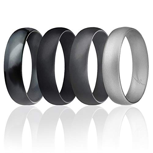 ROQ Silicone Wedding Ring for Men, Set of 4 Affordable Comfort Fit 6mm Manly Metallic Silicone Rubber Wedding Bands - Silver, Black, Grey, Black Camo - Size 11