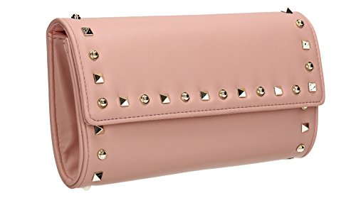 Katie Stud Pearl Faux Leather Womens Party Prom Wedding Ladies Clutch Shoulder Bag - Pink