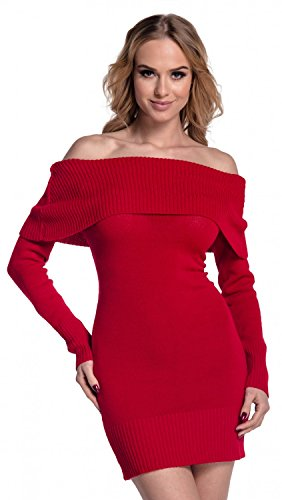 909 encolure longues maille Bardot Rouge en Robe Empire Glamour Femme manches x4wzqz6FO