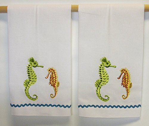 C & F Elegant Embroidered Sea Horse Hand Towels -- Set of 2