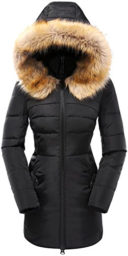 valuker Women's Down Coat with Fur Hood 90D Parka Puffer Jacket 57-Black-M