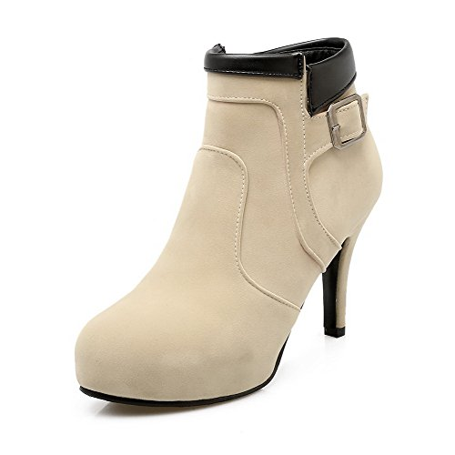 WeiPoot Color Zipper Frosted Ankle high Assorted High Heels Beige Women's Boots pxgfBp