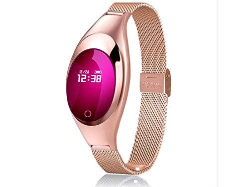 JxucTo Freundlich Einstellbare Touch Farbe Bildschirm Smart Armband Uhr Pulsmesser Schlaf Schrittzä hler Fitness Tracker (Golden)